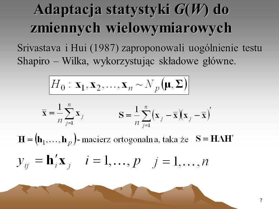 Adaptacja statystyki G(W) do zmiennych wielowymiarowych