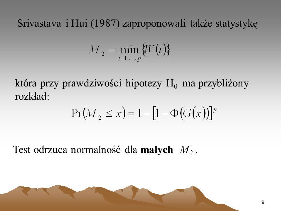 Srivastava i Hui (1987) zaproponowali także statystykę