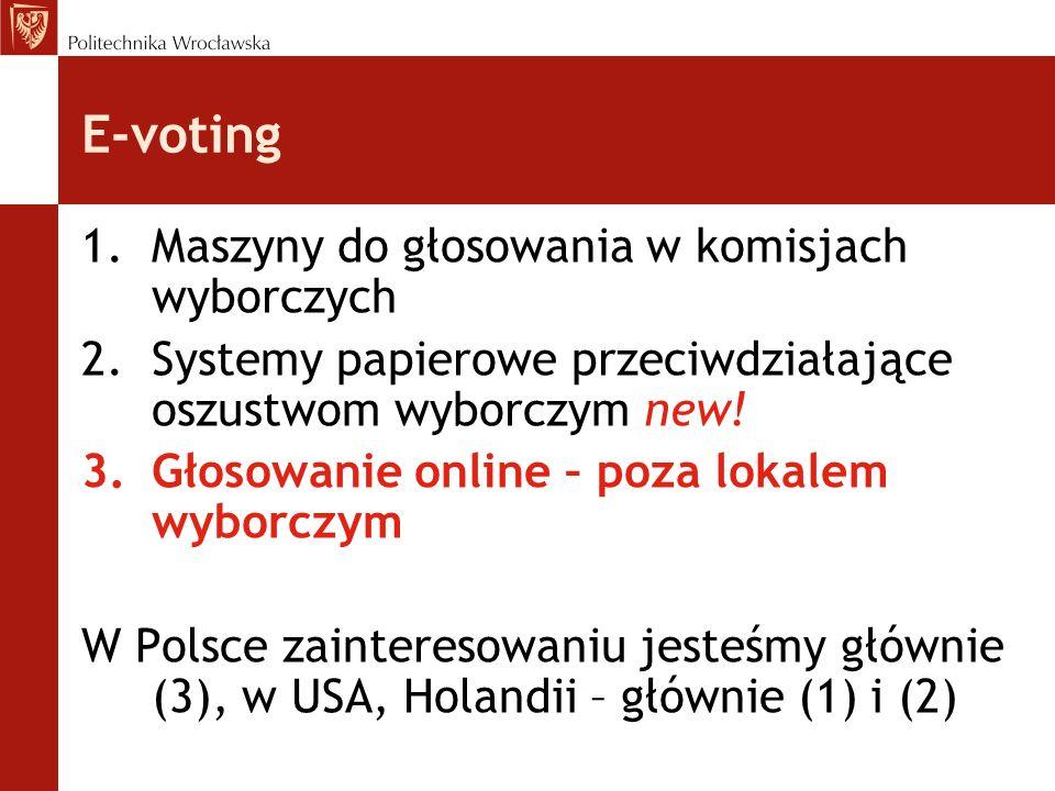 E-voting Maszyny do głosowania w komisjach wyborczych