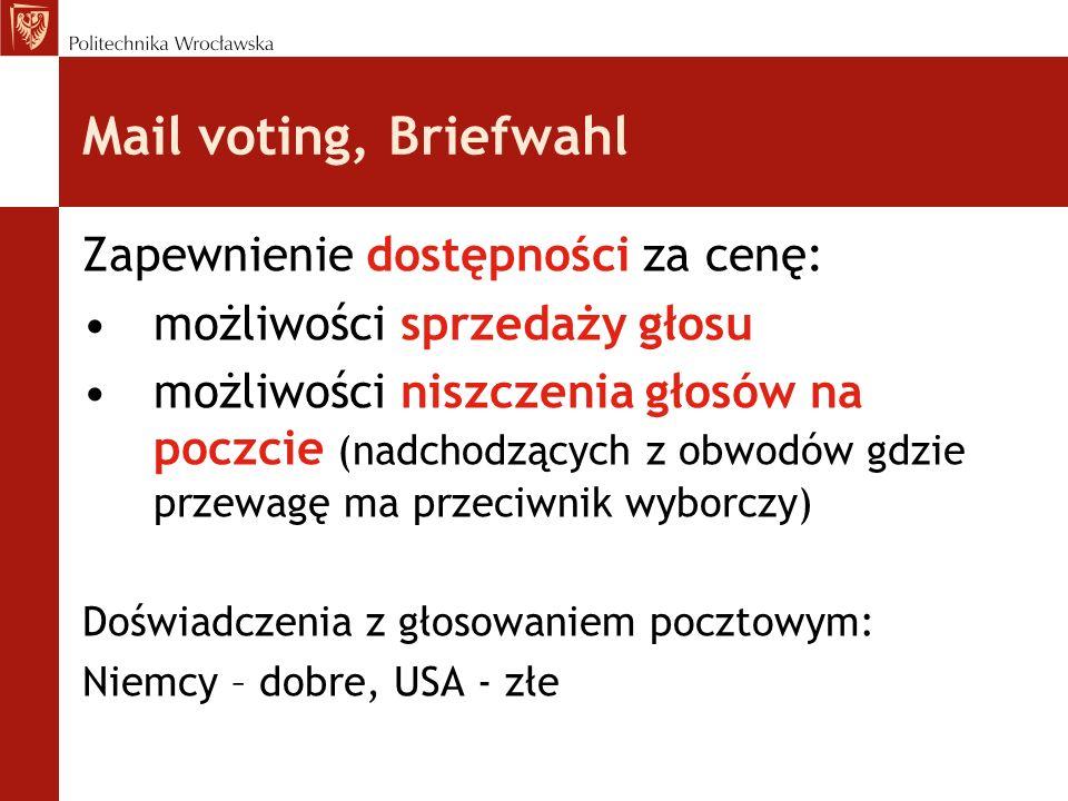 Mail voting, Briefwahl Zapewnienie dostępności za cenę: