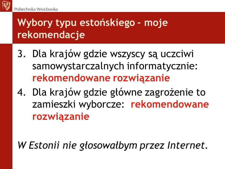 Wybory typu estońskiego – moje rekomendacje