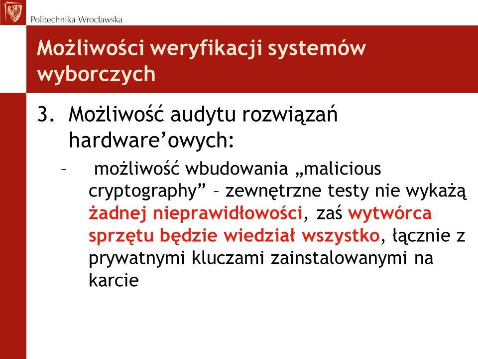 Możliwości weryfikacji systemów wyborczych