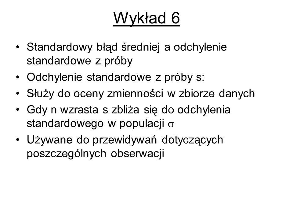 Wykład 6 Standardowy błąd średniej a odchylenie standardowe z próby