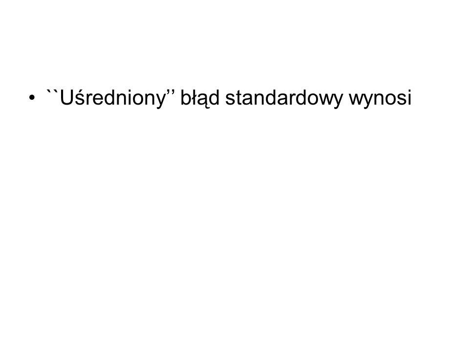 ``Uśredniony'' błąd standardowy wynosi