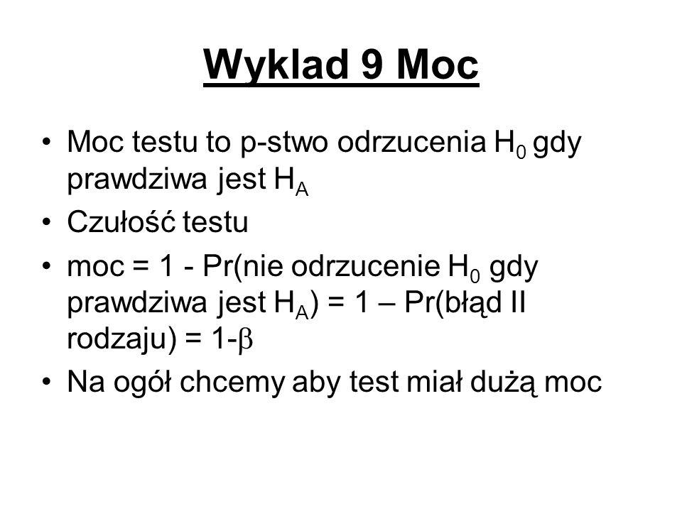 Wyklad 9 Moc Moc testu to p-stwo odrzucenia H0 gdy prawdziwa jest HA