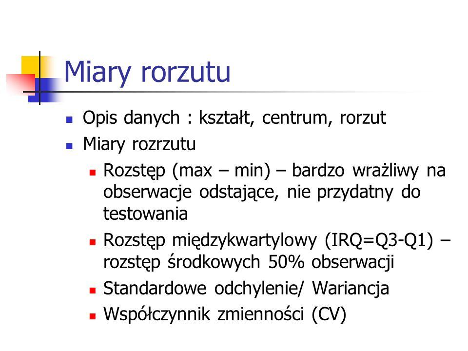 Miary rorzutu Opis danych : kształt, centrum, rorzut Miary rozrzutu