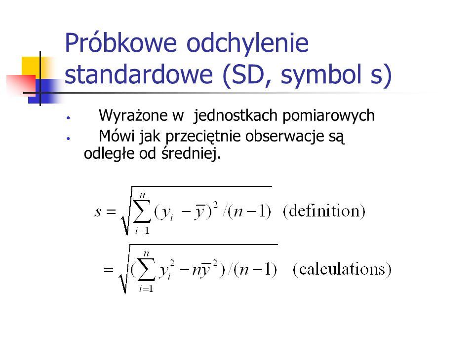 Próbkowe odchylenie standardowe (SD, symbol s)