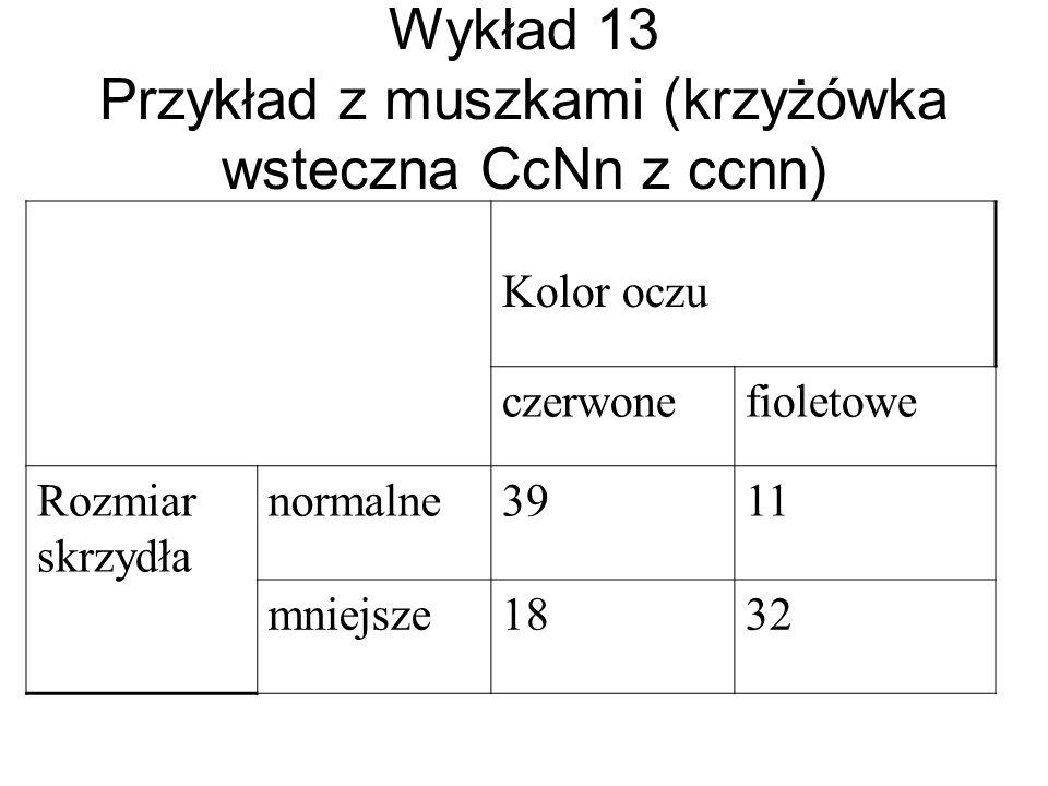 Wykład 13 Przykład z muszkami (krzyżówka wsteczna CcNn z ccnn)