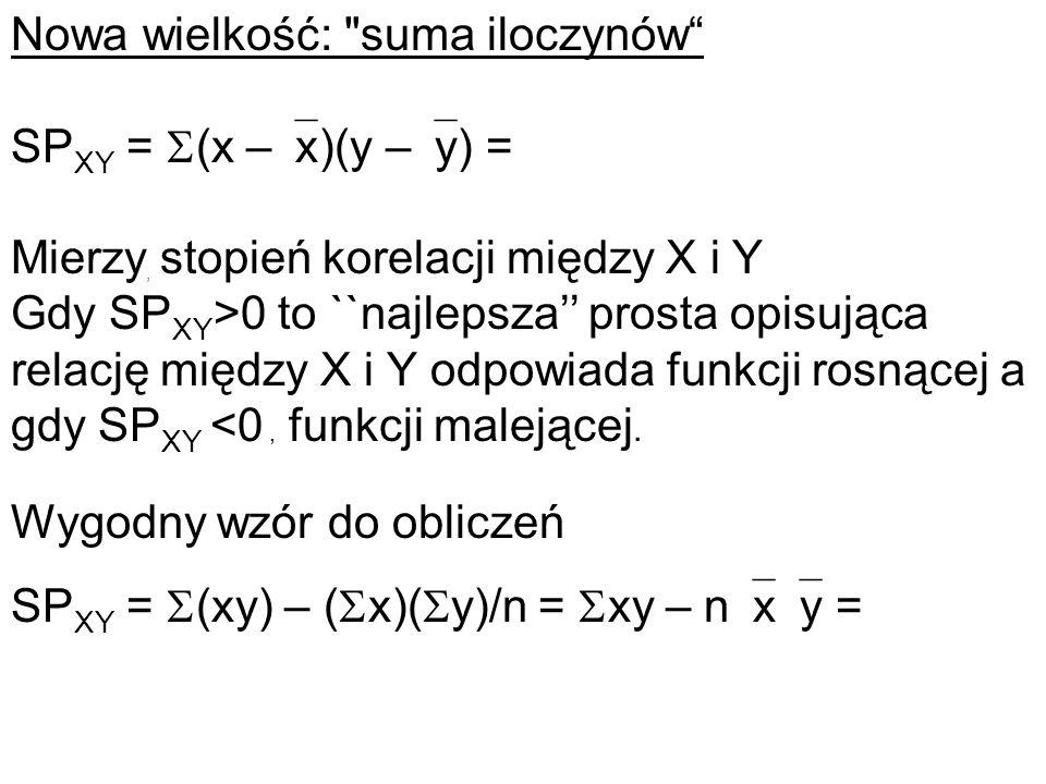 Nowa wielkość: suma iloczynów SPXY = (x –x)(y –y) =