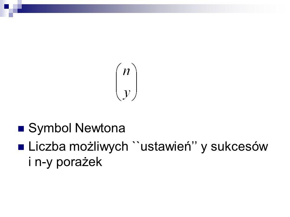 Symbol Newtona Liczba możliwych ``ustawień'' y sukcesów i n-y porażek