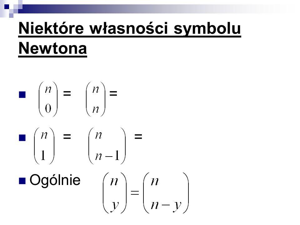 Niektóre własności symbolu Newtona