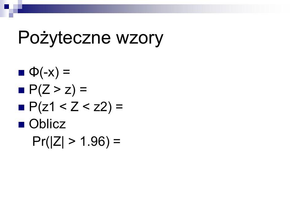 Pożyteczne wzory Φ(-x) = P(Z > z) = P(z1 < Z < z2) = Oblicz