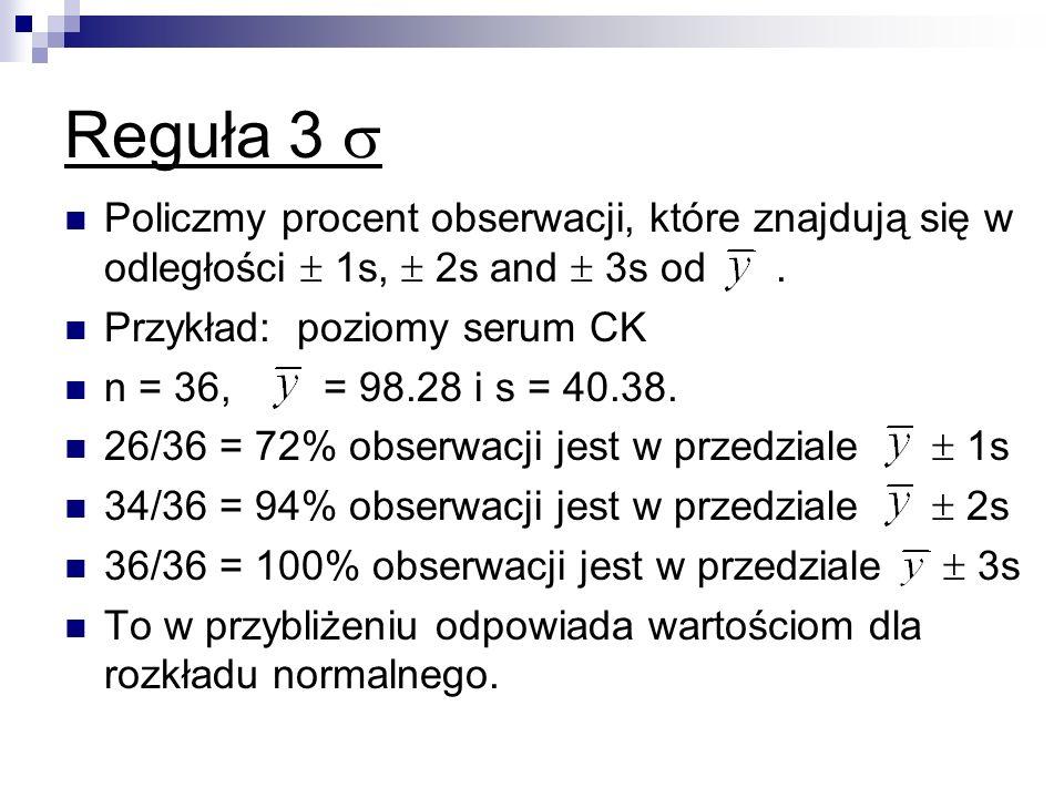 Reguła 3  Policzmy procent obserwacji, które znajdują się w odległości  1s,  2s and  3s od .
