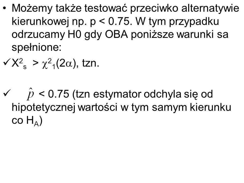 Możemy także testować przeciwko alternatywie kierunkowej np. p < 0