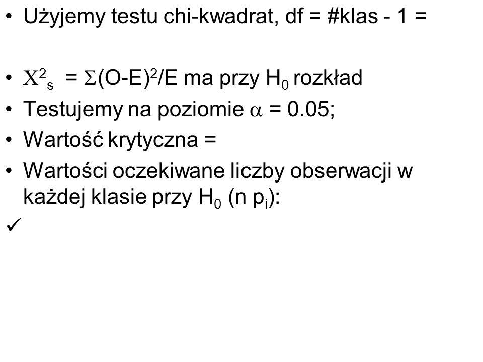 Użyjemy testu chi-kwadrat, df = #klas - 1 =