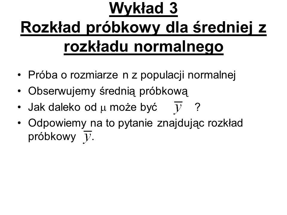 Wykład 3 Rozkład próbkowy dla średniej z rozkładu normalnego
