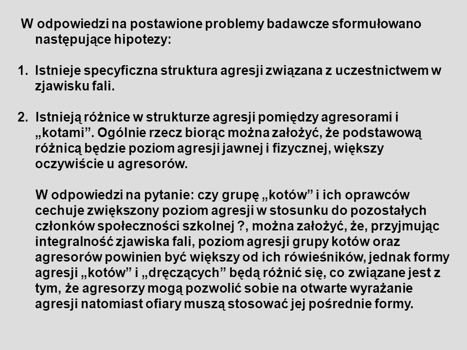 W odpowiedzi na postawione problemy badawcze sformułowano następujące hipotezy: