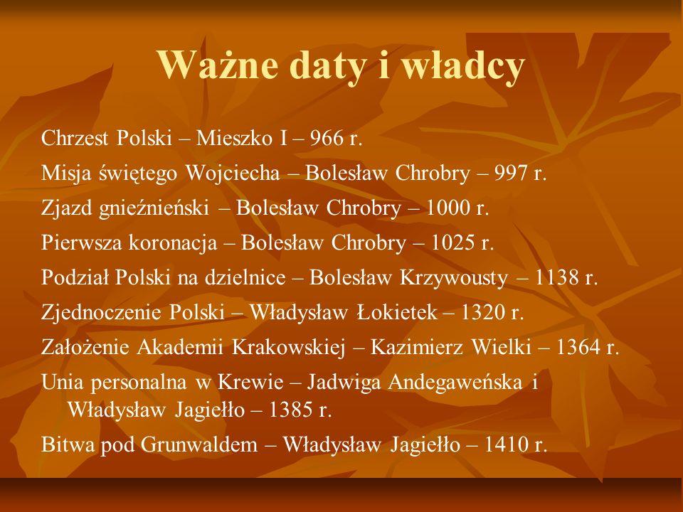 Ważne daty i władcy Chrzest Polski – Mieszko I – 966 r.
