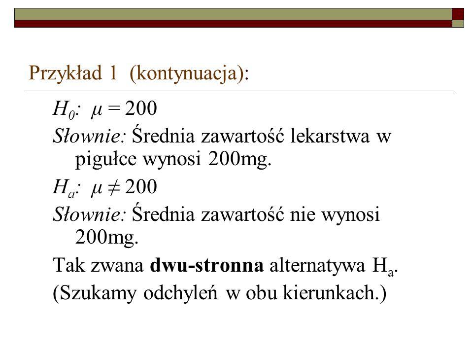 Przykład 1 (kontynuacja):