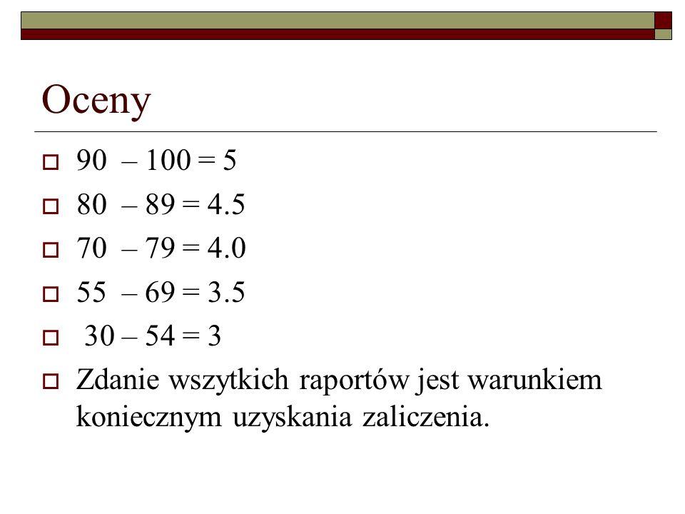 Oceny 90 – 100 = 5. 80 – 89 = 4.5. 70 – 79 = 4.0. 55 – 69 = 3.5. 30 – 54 = 3.