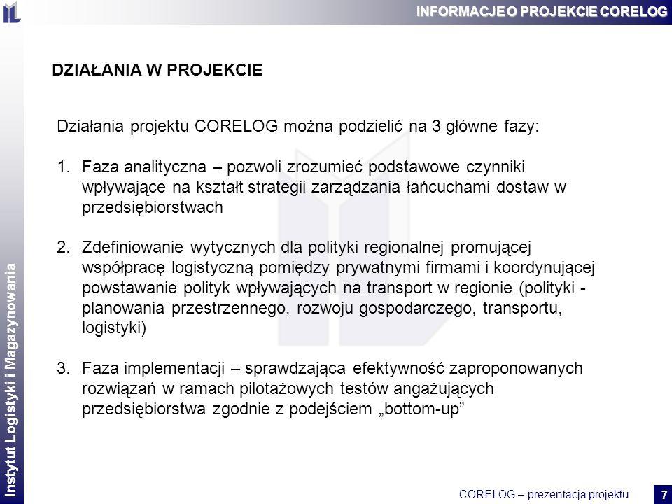 Działania projektu CORELOG można podzielić na 3 główne fazy: