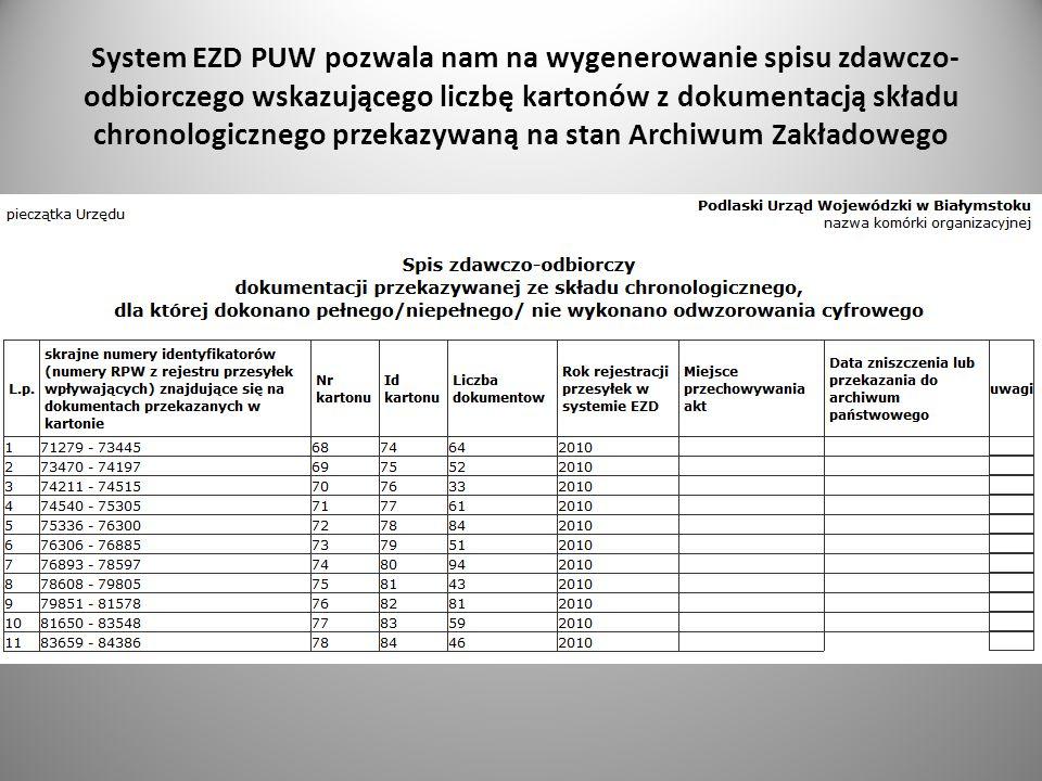 System EZD PUW pozwala nam na wygenerowanie spisu zdawczo-odbiorczego wskazującego liczbę kartonów z dokumentacją składu chronologicznego przekazywaną na stan Archiwum Zakładowego