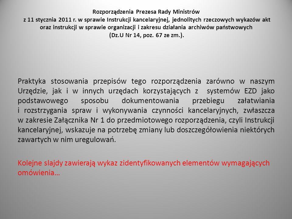 Rozporządzenia Prezesa Rady Ministrów z 11 stycznia 2011 r