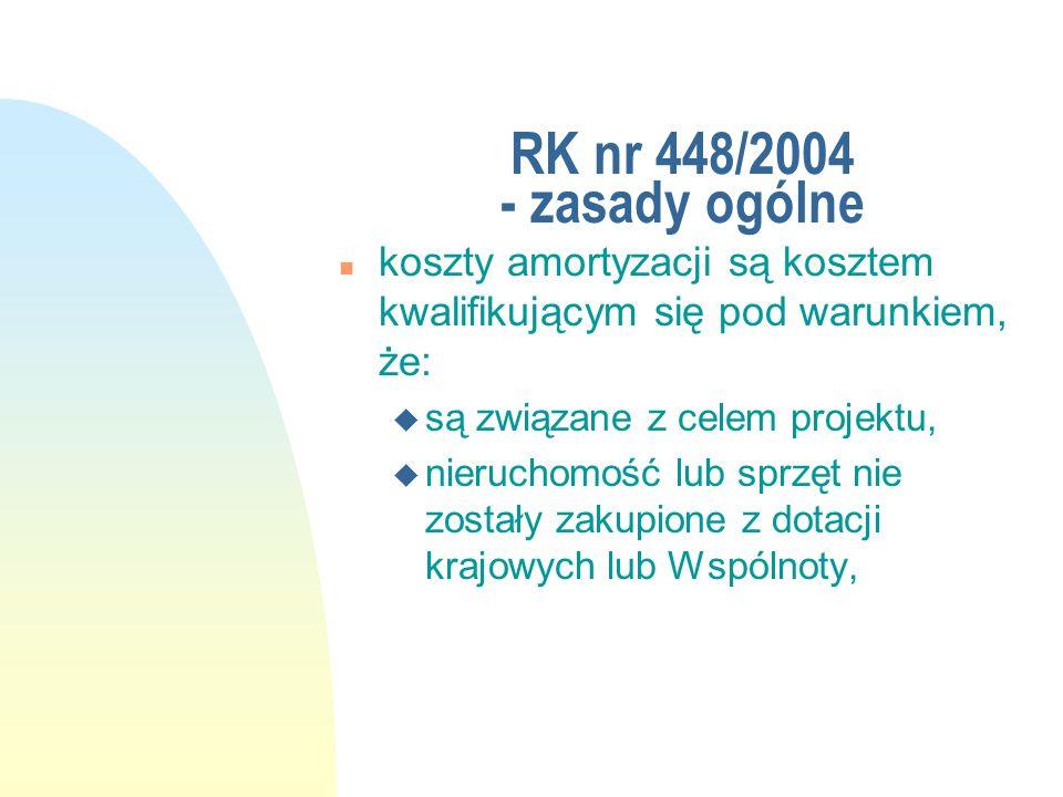 RK nr 448/2004 - zasady ogólne koszty amortyzacji są kosztem kwalifikującym się pod warunkiem, że: