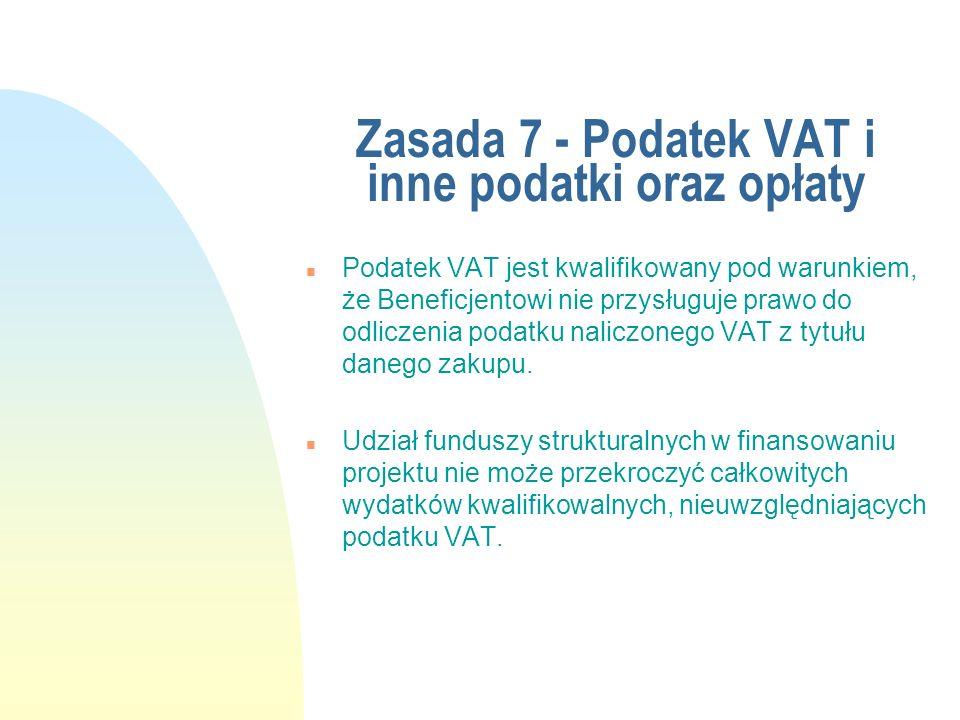 Zasada 7 - Podatek VAT i inne podatki oraz opłaty