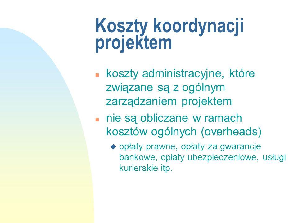 Koszty koordynacji projektem
