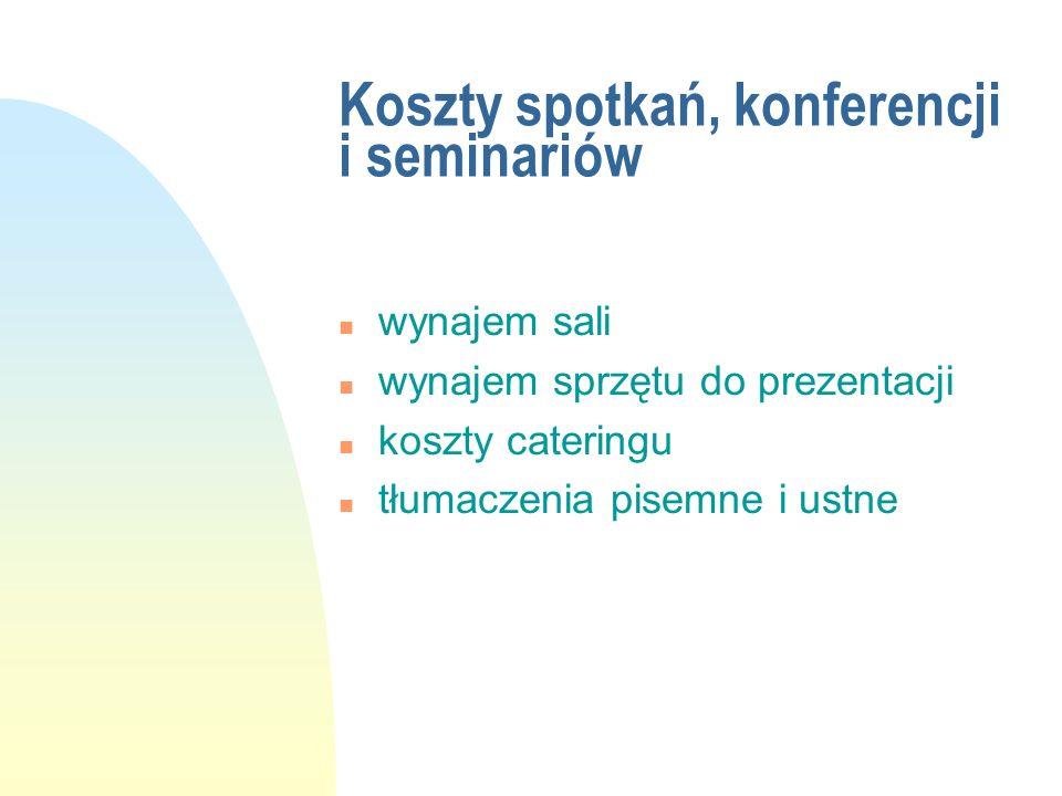 Koszty spotkań, konferencji i seminariów