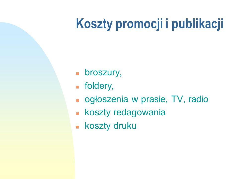 Koszty promocji i publikacji