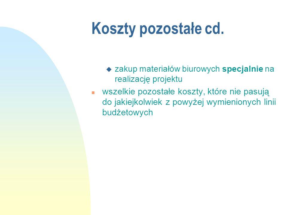 Koszty pozostałe cd. zakup materiałów biurowych specjalnie na realizację projektu.
