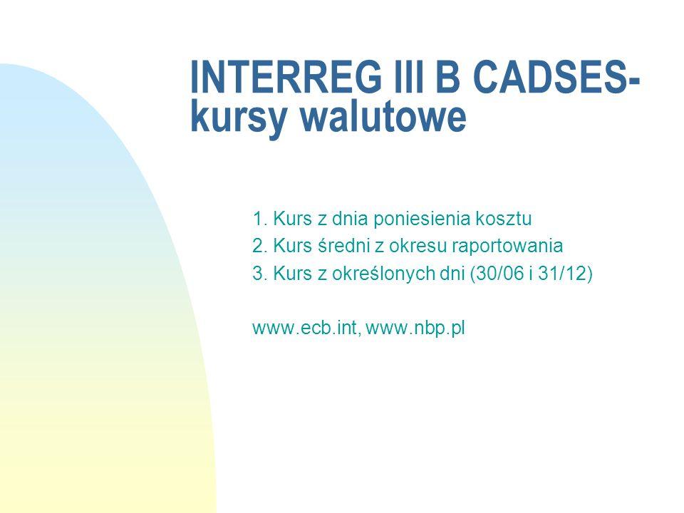 INTERREG III B CADSES-kursy walutowe