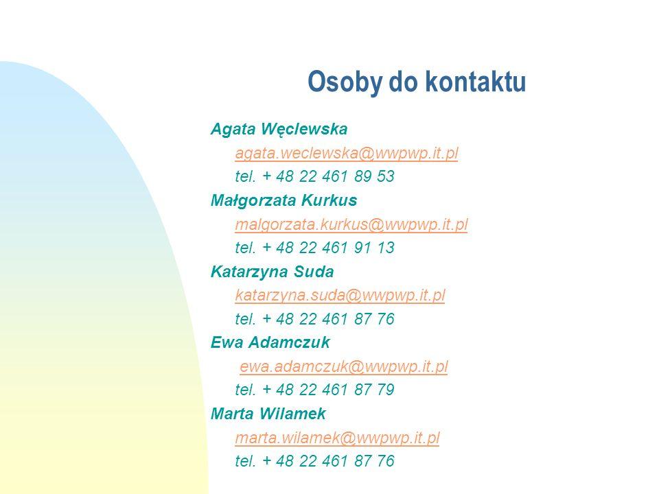 Osoby do kontaktu Agata Węclewska agata.weclewska@wwpwp.it.pl