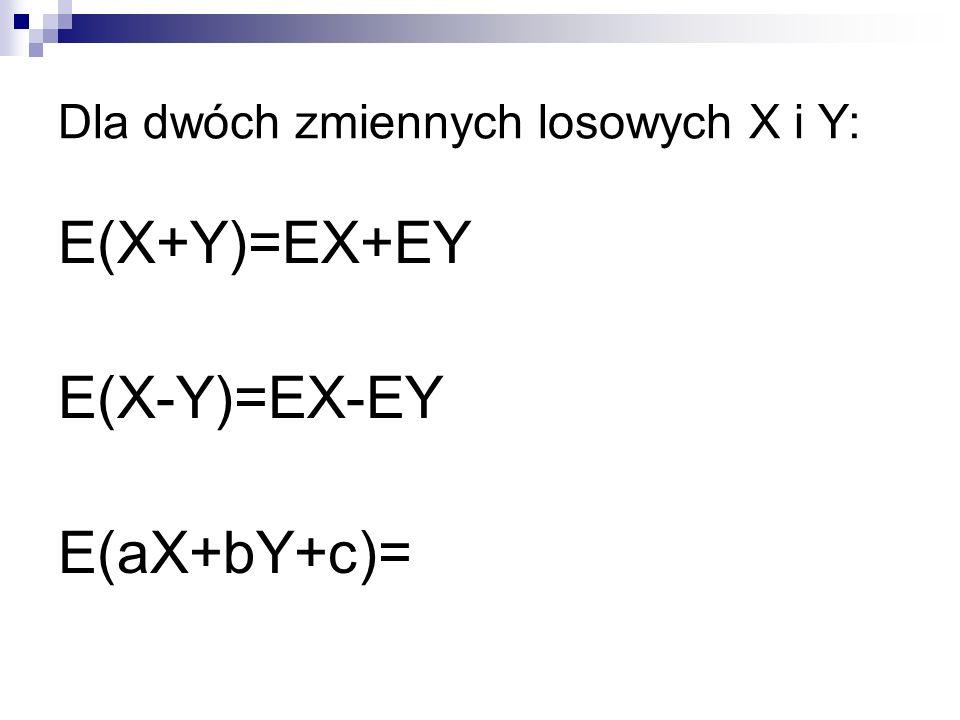 Dla dwóch zmiennych losowych X i Y: