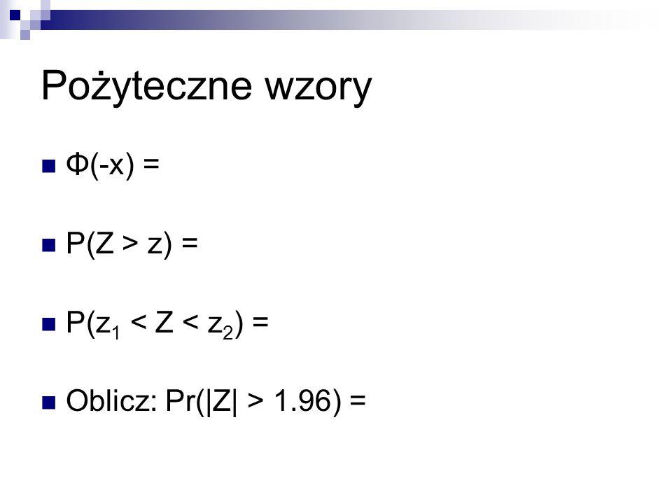 Pożyteczne wzory Φ(-x) = P(Z > z) = P(z1 < Z < z2) =