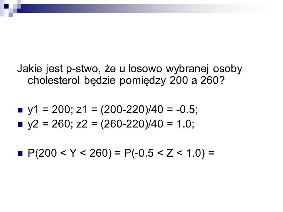 Jakie jest p-stwo, że u losowo wybranej osoby cholesterol będzie pomiędzy 200 a 260
