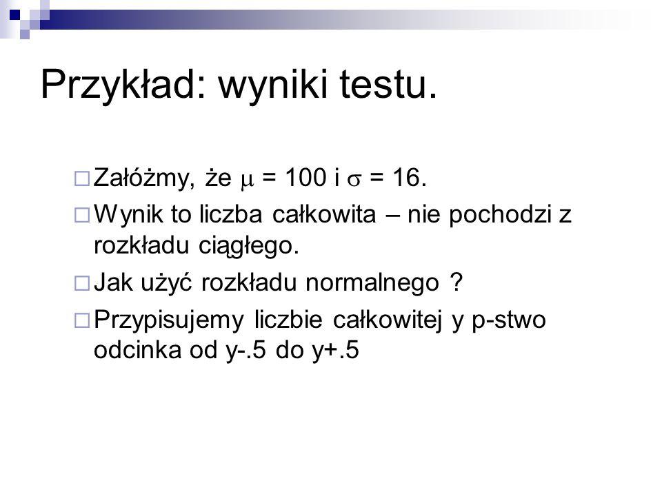 Przykład: wyniki testu.