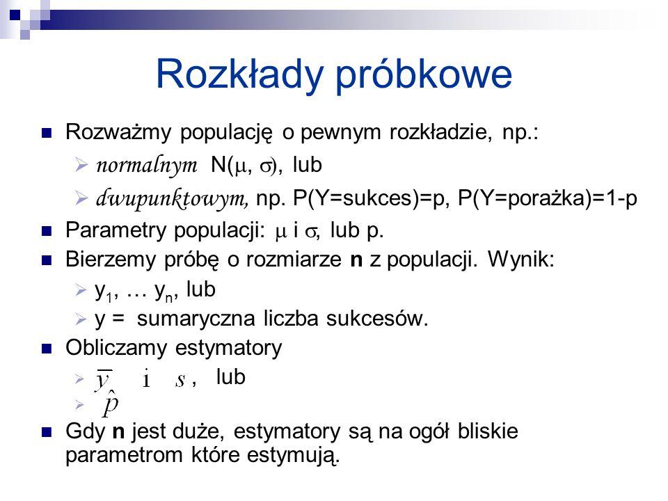Rozkłady próbkowe normalnym N(, ), lub