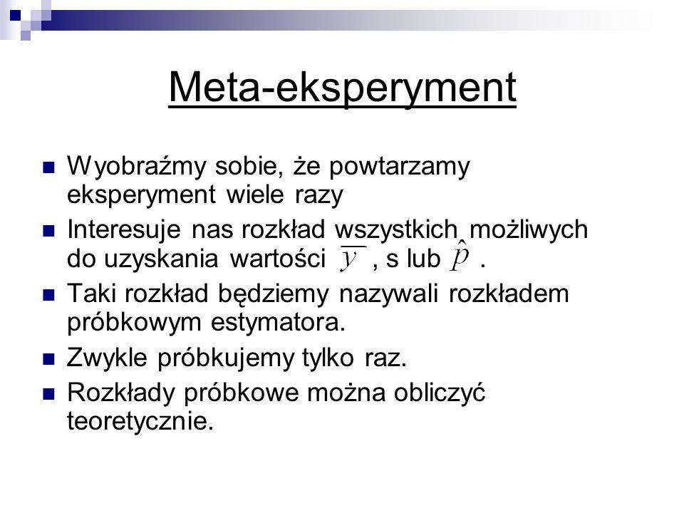 Meta-eksperyment Wyobraźmy sobie, że powtarzamy eksperyment wiele razy