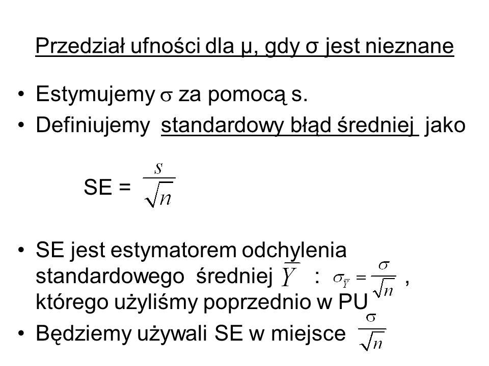 Przedział ufności dla μ, gdy σ jest nieznane