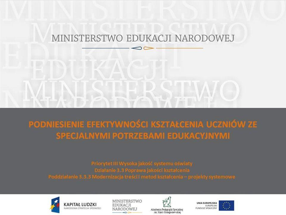 """Model pracy z uczniem ze specjalnymi potrzebami edukacyjnymi jest częścią projektu: """"Podniesienie efektywności kształcenia uczniów ze specjalnymi potrzebami edukacyjnymi zrealizowanego przez MEN we współpracy partnerskiej z APS w Warszawie."""