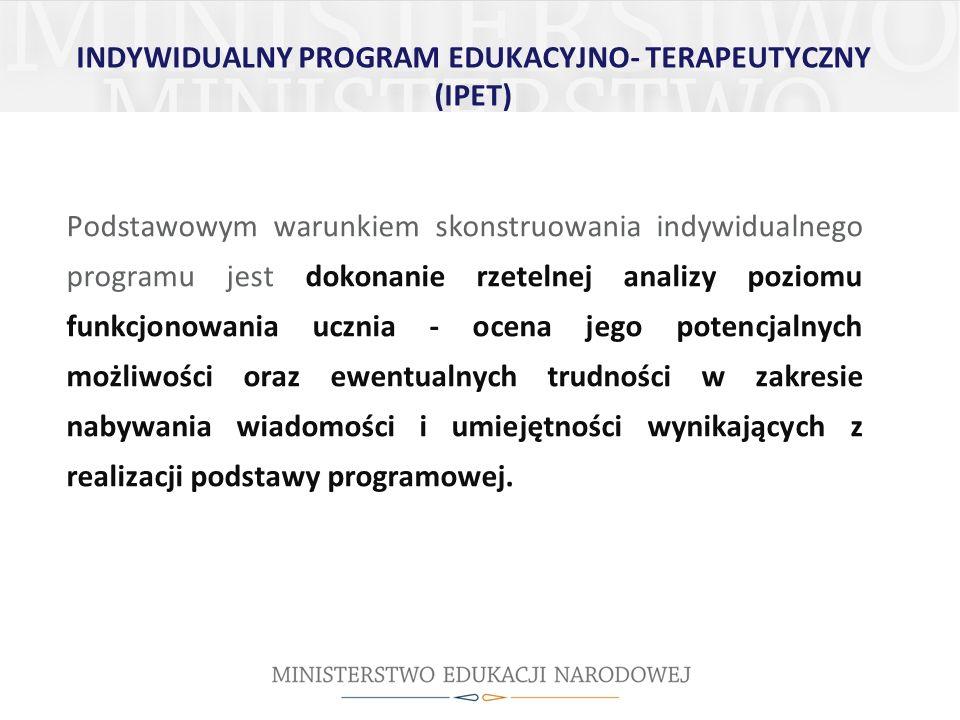 INDYWIDUALNY PROGRAM EDUKACYJNO- TERAPEUTYCZNY (IPET)