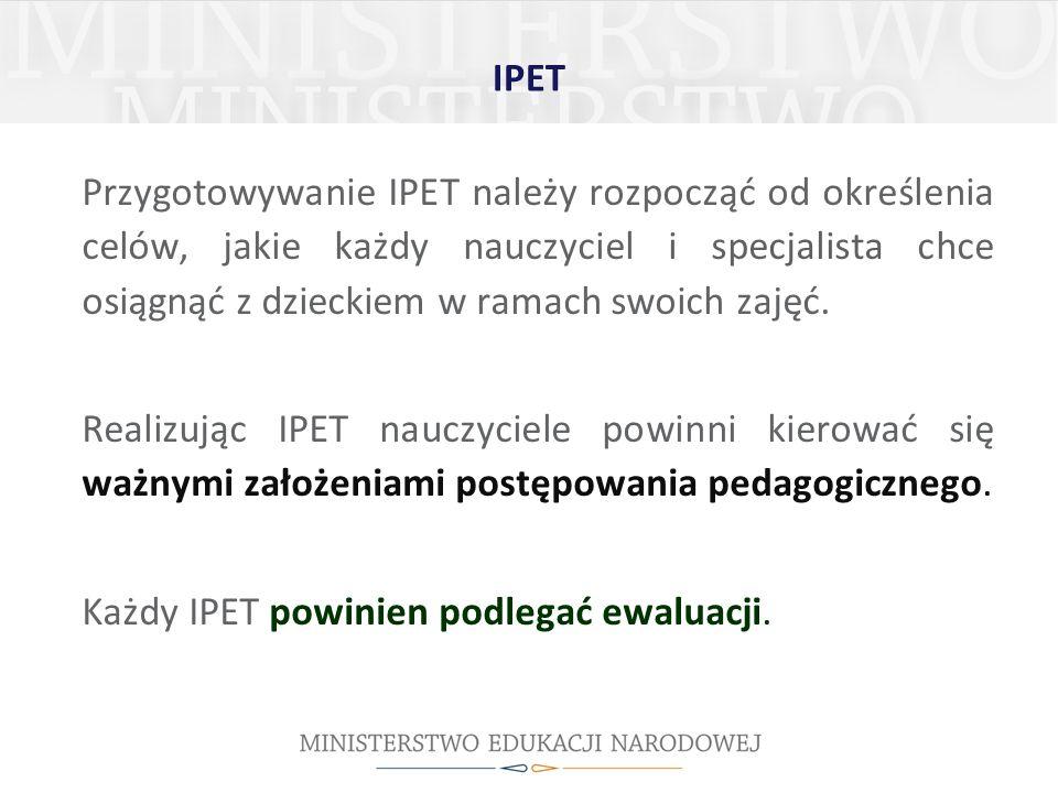 Każdy IPET powinien podlegać ewaluacji.