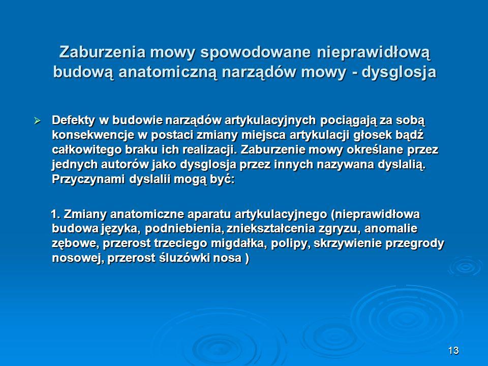 Zaburzenia mowy spowodowane nieprawidłową budową anatomiczną narządów mowy - dysglosja