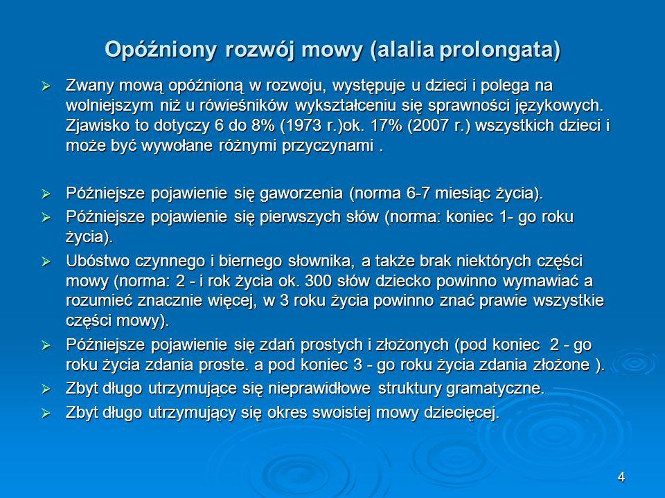 Opóźniony rozwój mowy (alalia prolongata)