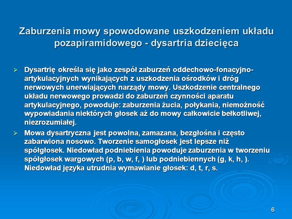 Zaburzenia mowy spowodowane uszkodzeniem układu pozapiramidowego - dysartria dziecięca