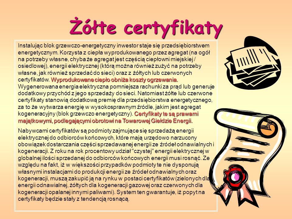 Żółte certyfikaty