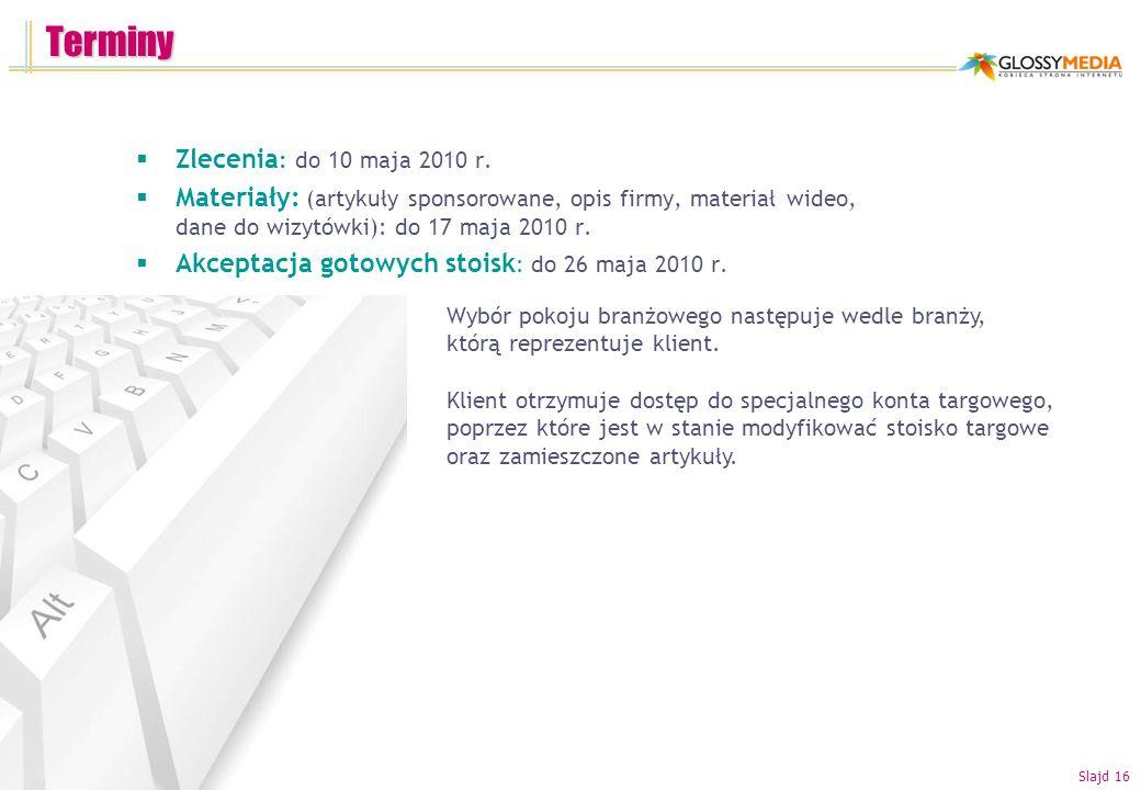 Terminy Zlecenia: do 10 maja 2010 r.